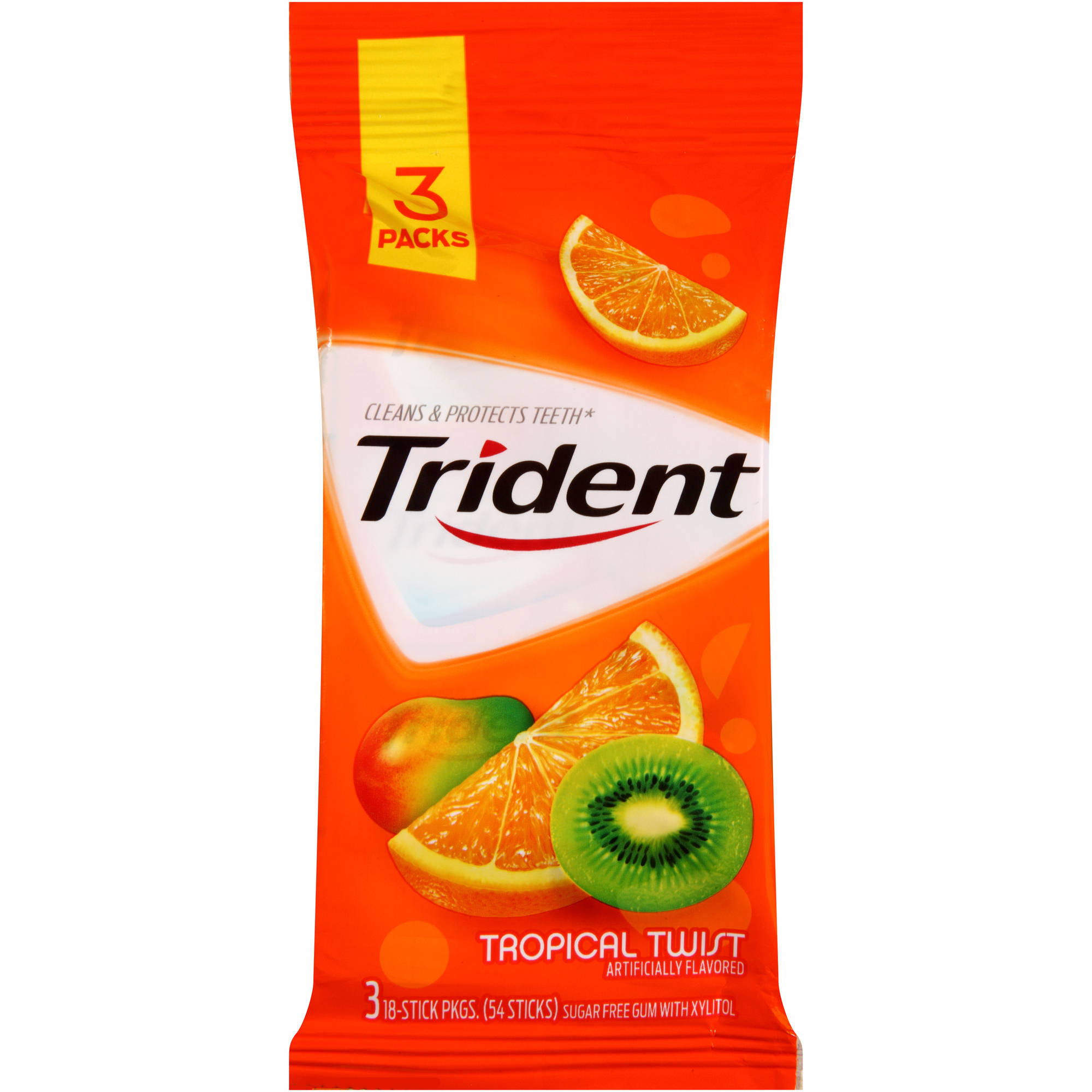 Trident Tropical Twist Sugar Free Gum with Xylitol, 18 pc, 3 count