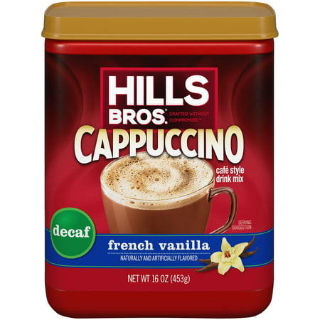 (3 Pack) Hills Bros. Decaf French Vanilla Cappuccino Instant Coffee Mix, 16 Ounce