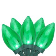 Set of 50 Transparent Green LED C9 Christmas Lights - Green Wire