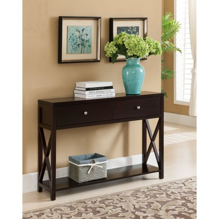 Ethan Dark Cherry Wood Contemporary Occasional Entryway Console Sofa Table With Storage Drawers Shelf