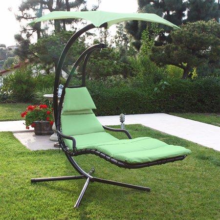 Patio Swing Chair Lounger Hammock Sun Canopy Green
