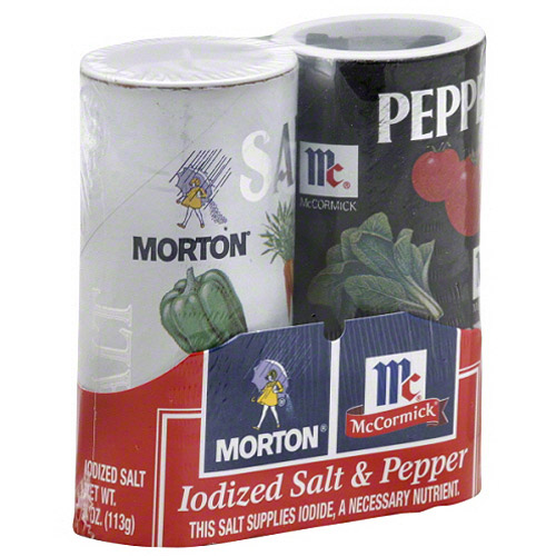 Morton Iodized Salt and McCormick Pepper Shakers, 2 count, 5.25 oz, (Pack of 12)