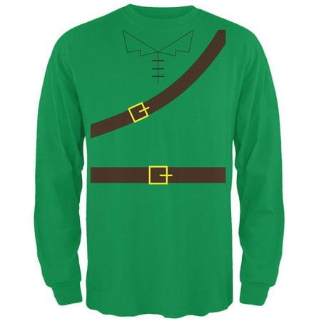 Halloween Robin Hood Costume Irish Green Adult Long Sleeve T-Shirt - Origins Of Halloween Ireland
