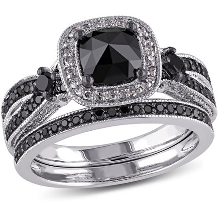 1 1 2 Carat T W  Cushion And Princess With Round Cut Black And White Diamond Sterling Silver Bridal Set