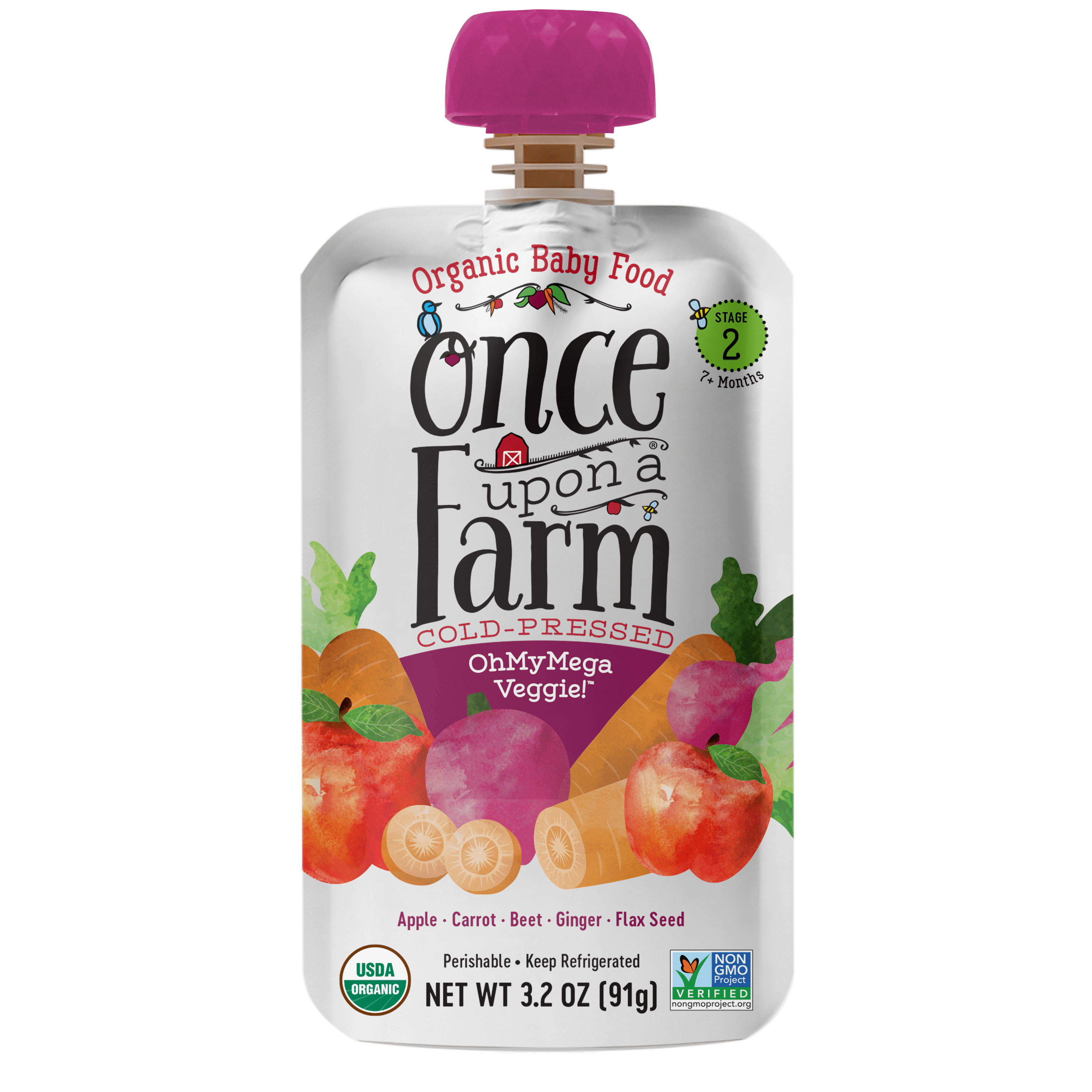 Once Upon a Farm Stage 2 Organic OhMyMega Veggie Baby Food
