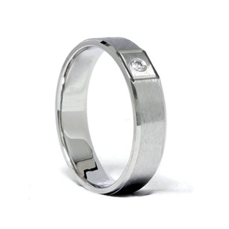 Mens Diamond Solitaire Wedding Band Solid 14K White Gold - image 1 de 2