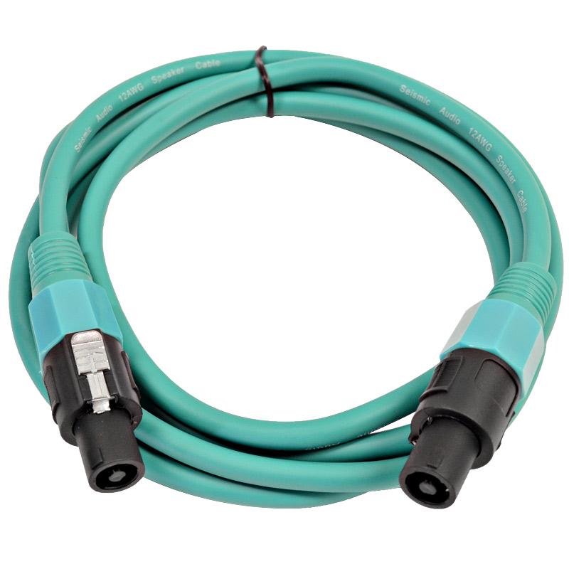 Seismic Audio  12 Gauge 10 Foot Green Speakon to Speakon Speaker Cable 10' Green - TW12S10Green