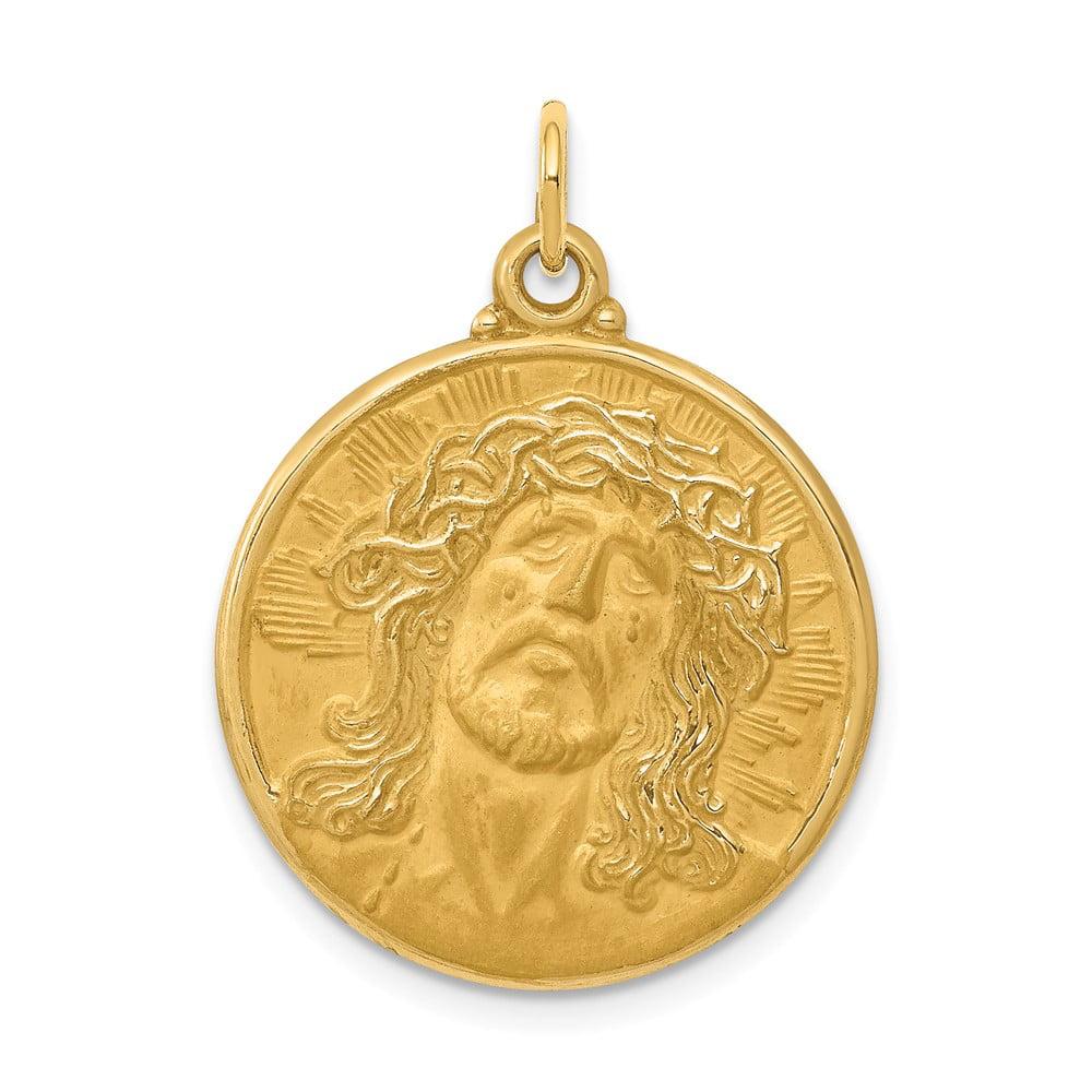 14k Yellow Gold Engravable Head of Jesus Medal Pendant