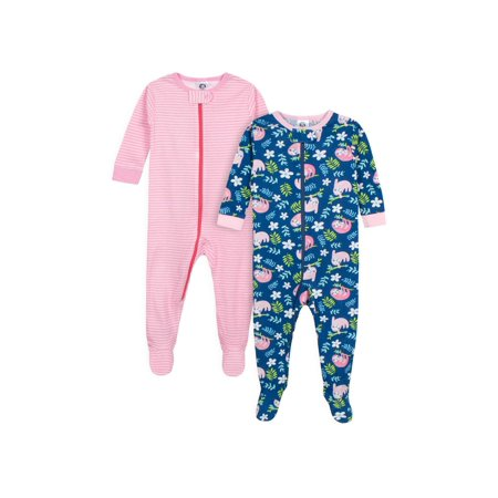 Gerber Footed tight-fit unionsuit pajamas, 2pk (baby girls) ()