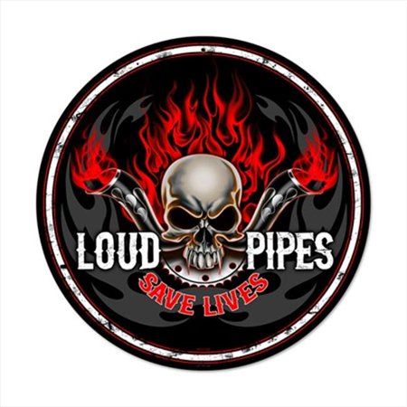 - Past Time Signs LETH132 Loud Pipes Round Motorcycle Vintage Metal Sign