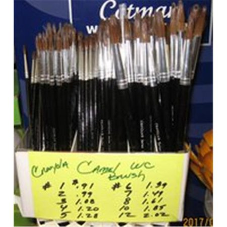 Crayola Round Natural Camel Hair Polished Wood Handle Watercolor Paint Brush, Size 8, Black