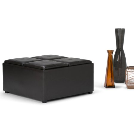 Brooklyn Max Lincoln Coffee Table Brown Faux Leather Storage Ottoman With 4 Serving Trays