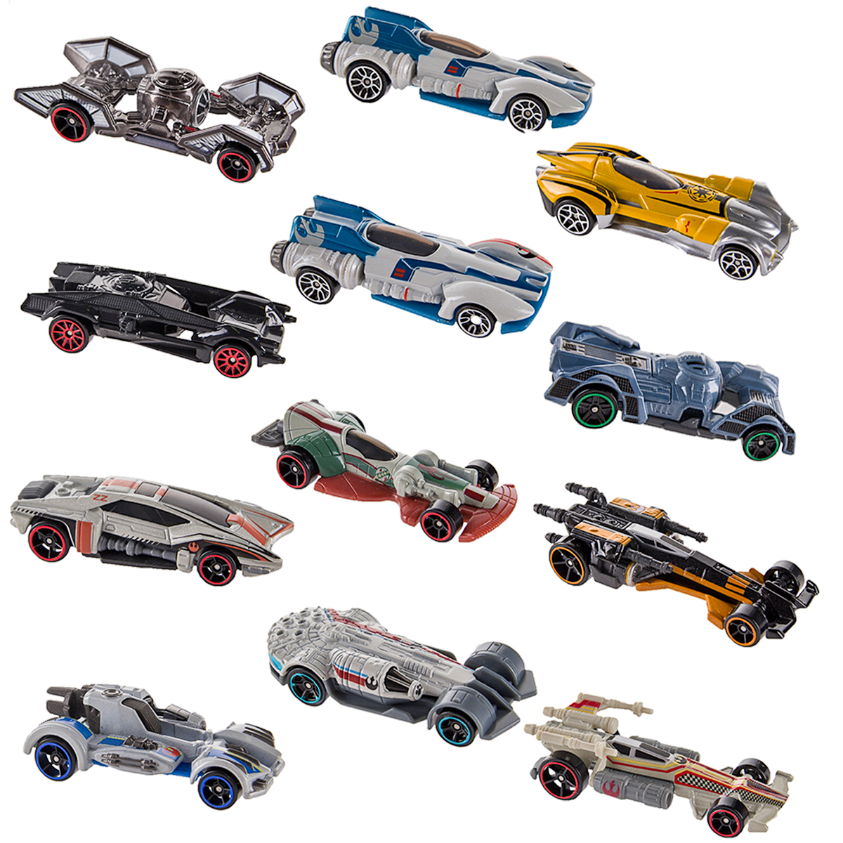 Hot Wheels (Set of 12) Disney Star Wars Carships Toys Set Starship Inspired Character Cars... by