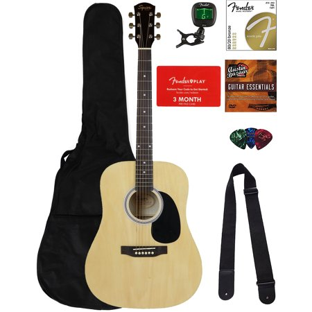- Fender Squier Dreadnought Acoustic Guitar - Natural Bundle with Fender Play Online Lessons, Gig Bag, Tuner, Strings, Strap, Picks, and Austin Bazaar Instructional DVD