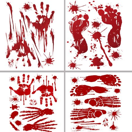 40Pcs Footprints Stickers Floor Clings,Handprints Window Wall Clings Decals, Party Decorations Supplies 4 Sheets - Floor Clings