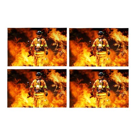 MKHERT Fire Firefighter Fireman Searches for Possible Survivors Placemats Table Mats for Dining Room Kitchen Table Decoration 12x18 inch,Set of 4 - Survivor Decorations