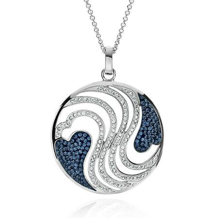 Blue & White Swirl Circle Pendant Made with Swarovski Crystals in Bronze - 18