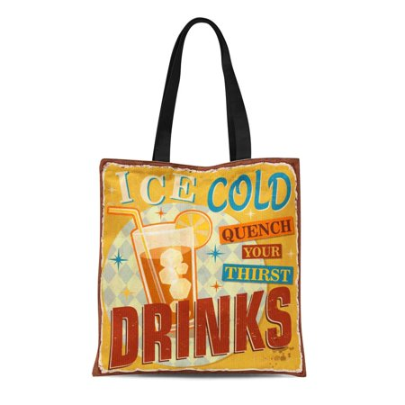 NUDECOR Canvas Tote Bag 1950S Vintage Ice Cold Drinks Metal Sign 1960S Aged Durable Reusable Shopping Shoulder Grocery Bag - image 1 of 1