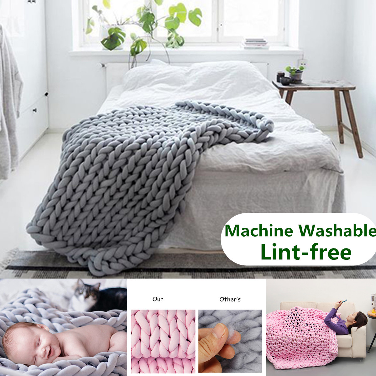 Chunky Hand-woven Knitted Cotton Blanket Thick Bulky Bed Sofa Throw Rug - Machine Washable and Lint-free