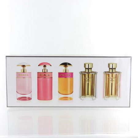 PRADA VARIETY SET WOMEN 5 PIECE GIFT SET - 0.24 OZ PRADA CANDY FLORALE, 0.24 OZ PRADA CANDY GLOSS, PRADA CANDY 0.24 OZ, LA FEMME PRADA 0.3 OZ, LA FEMME PRADA 0.3 OZ GIFTSET by PRADA This fragrance comes in a new giftset which contains 5 piece gift set - 0.24 oz prada candy florale, 0.24 oz prada candy gloss, prada candy 0.24 oz, la femme prada 0.3 oz, la femme prada 0.3 oz. The product is for women.