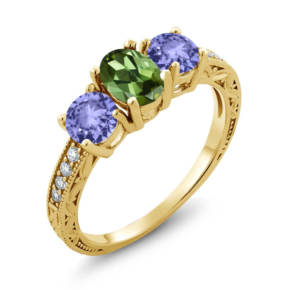 1.74 Ct Oval Green Tourmaline Blue Tanzanite 18K Yellow Gold Plated Silver Ring by