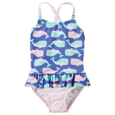376b010b84 Carter's - Carter's Little Girls' Whale Ruffle Swimsuit, 2-Toddler -  Walmart.com