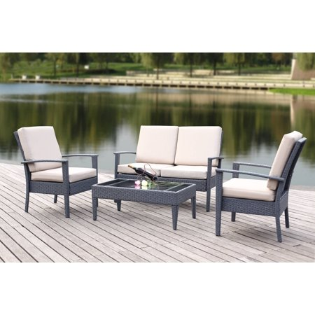 Safavieh Myers Outdoor Contemporary Wicker 4 Piece Set with Cushion ()
