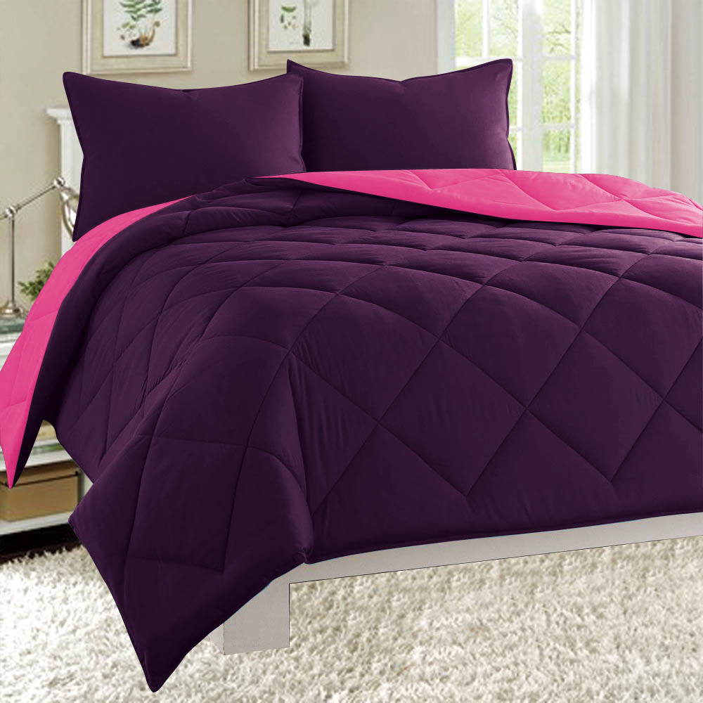 Dayton Queen Size 3-Piece Reversible Comforter Set Soft Brushed Microfiber Quilted Bed Cover Plum Purple & Hot Pink