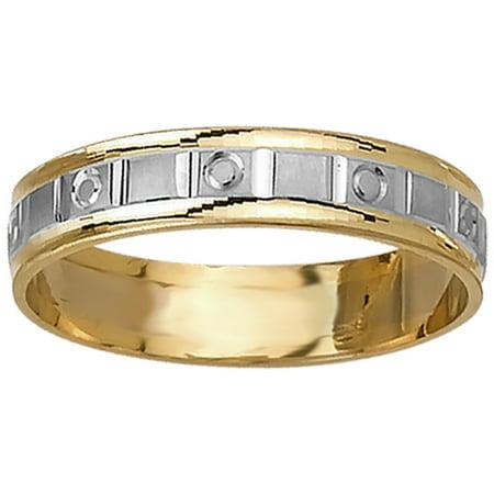 (14K Two Tone Gold Pattern Modern Women's Wedding Band (5mm))