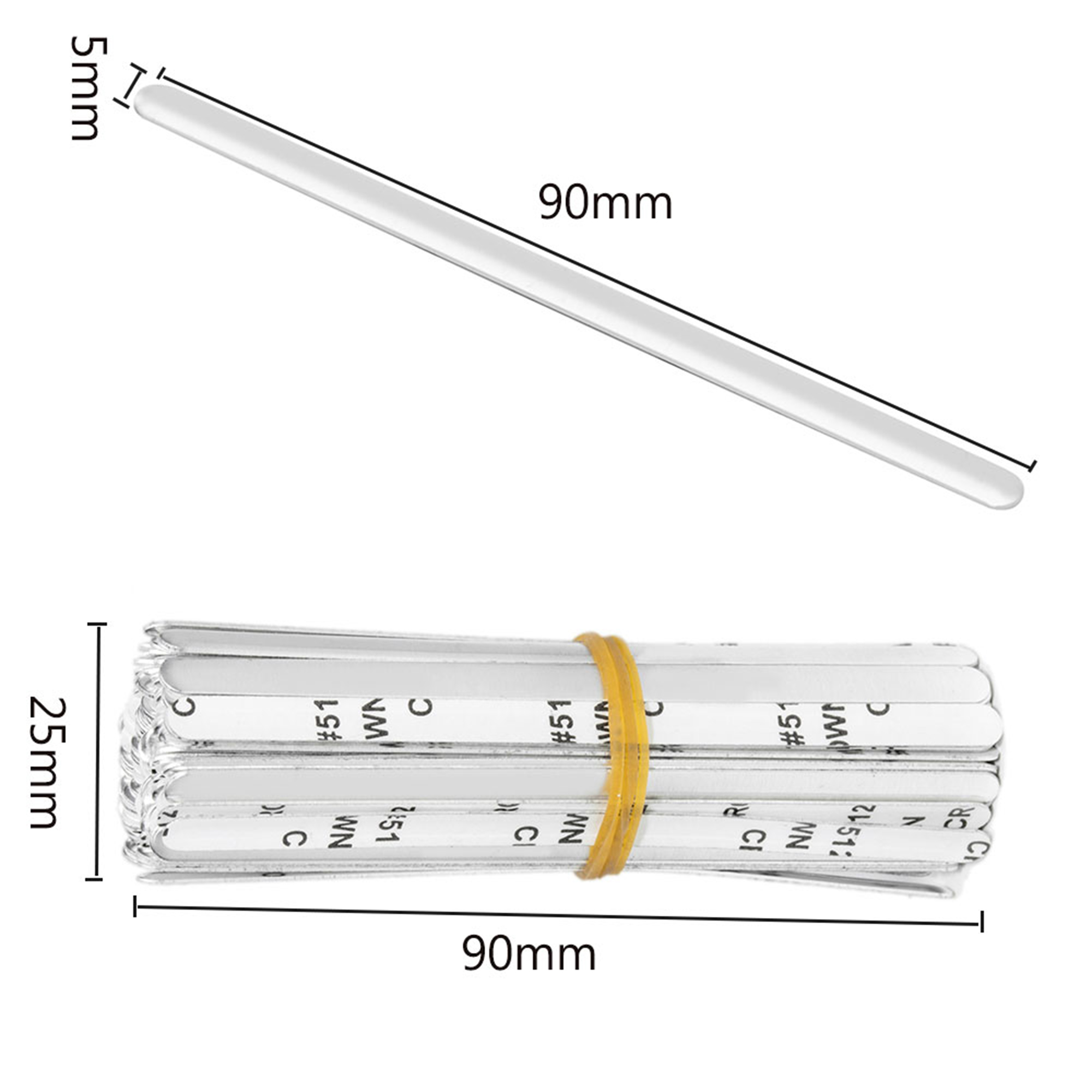 Adhesive Back Aluminum Strips Nose Wire Nose Bridge for 90MM Metal Flat Nose Clips Nose Bridge Bracket DIY Wire for Sewing Crafts 240PCS