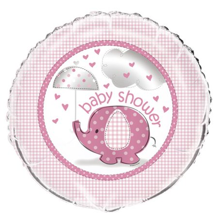 Pink Elephant Baby Shower 18 inch Foil Balloon - Pink Elephant Baby Shower Theme