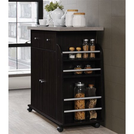 Hodedah Kitchen Cart with Spice Rack in Chocolate - image 7 of 7