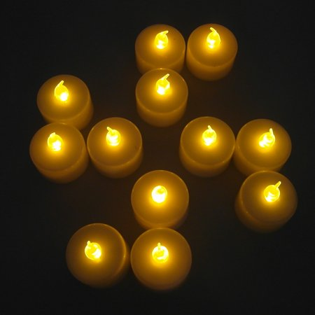 TrendBox 48 Yellow, LED Plastic Tea Tealight Candles Lamp Flameless Shine Anniversary Wedding Party Restaurant Atmosphere Decoration Battery Operated - Flameless Lamps