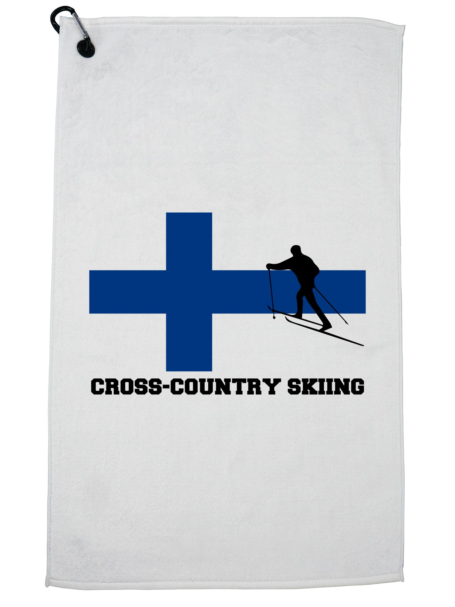Finish Cross-Country Skiing Winter Olympic FIN Flag Golf Towel with Carabiner Clip by Hollywood Thread