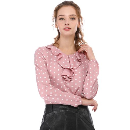 Unique Bargains Women's Ruffle Neck Polka Dots Tunics Blouse (Ruffle Bottom Tunic)