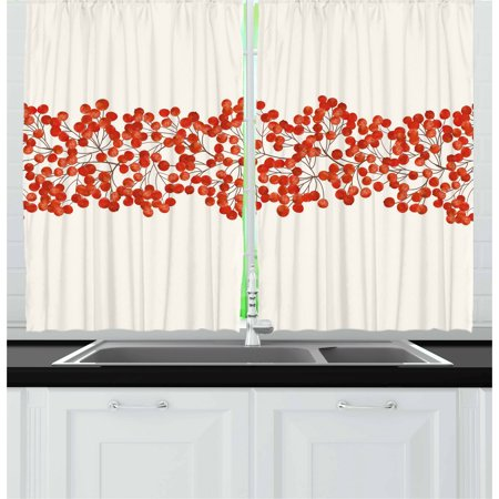 Rowan Curtains 2 Panels Set, Border with Wild Red Mountain Ashes on Twigs Hand Painted Natural Artwork Print, Window Drapes for Living Room Bedroom, 55W X 39L Inches, Red and White, by Ambesonne