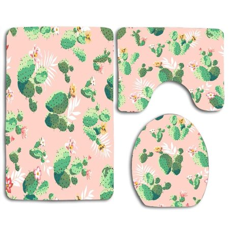 Pudmad Vintage Cactus 3 Piece Bathroom Rugs Set Bath Rug