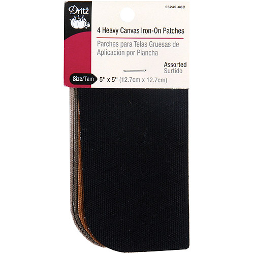 "Iron, On Heavy Canvas Patches 5"" x 5"", 4/pkg, Assorted Colors"
