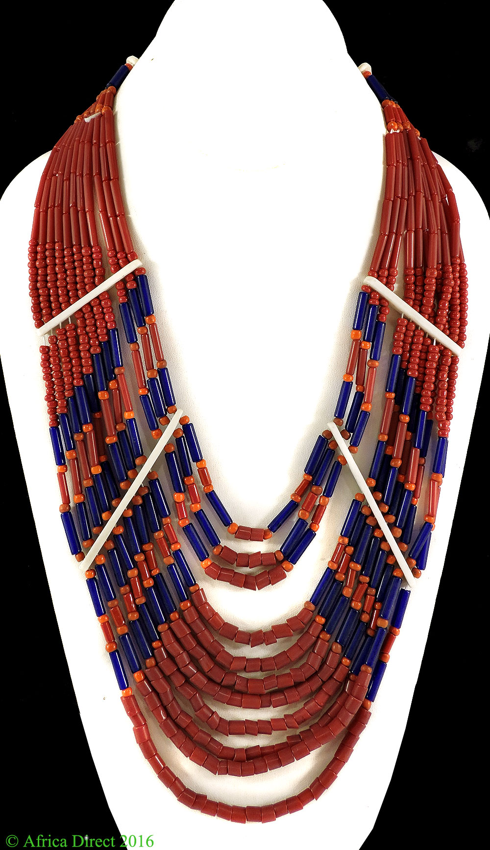 Tibetan Necklace 11 Strand Coral Color 34 Inch by
