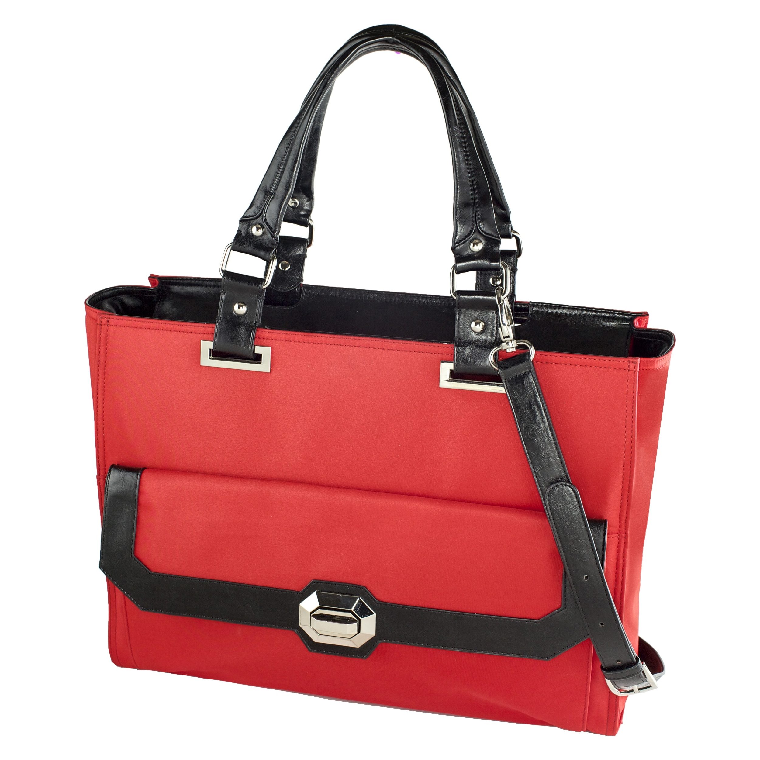 "Madison Francine Collection Carrying Case for 15.6"" Notebook - Black, Red - MicroFiber, Leather - Shoulder Strap - 12.5"" Height x 17"" Width x 6.5"" Depth"