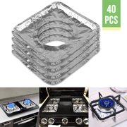 40PCs Aluminum Foil Square Burner Cover Liners Protector, Disposable Durable Burner Bibs for Electric and Gas Range Stoves - Great for Avoiding Cleanup from Oil & Food Dripping