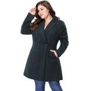 Women's Plus Size Winter Outwear Peacoat Lapel Coat Blue (Size 1X)