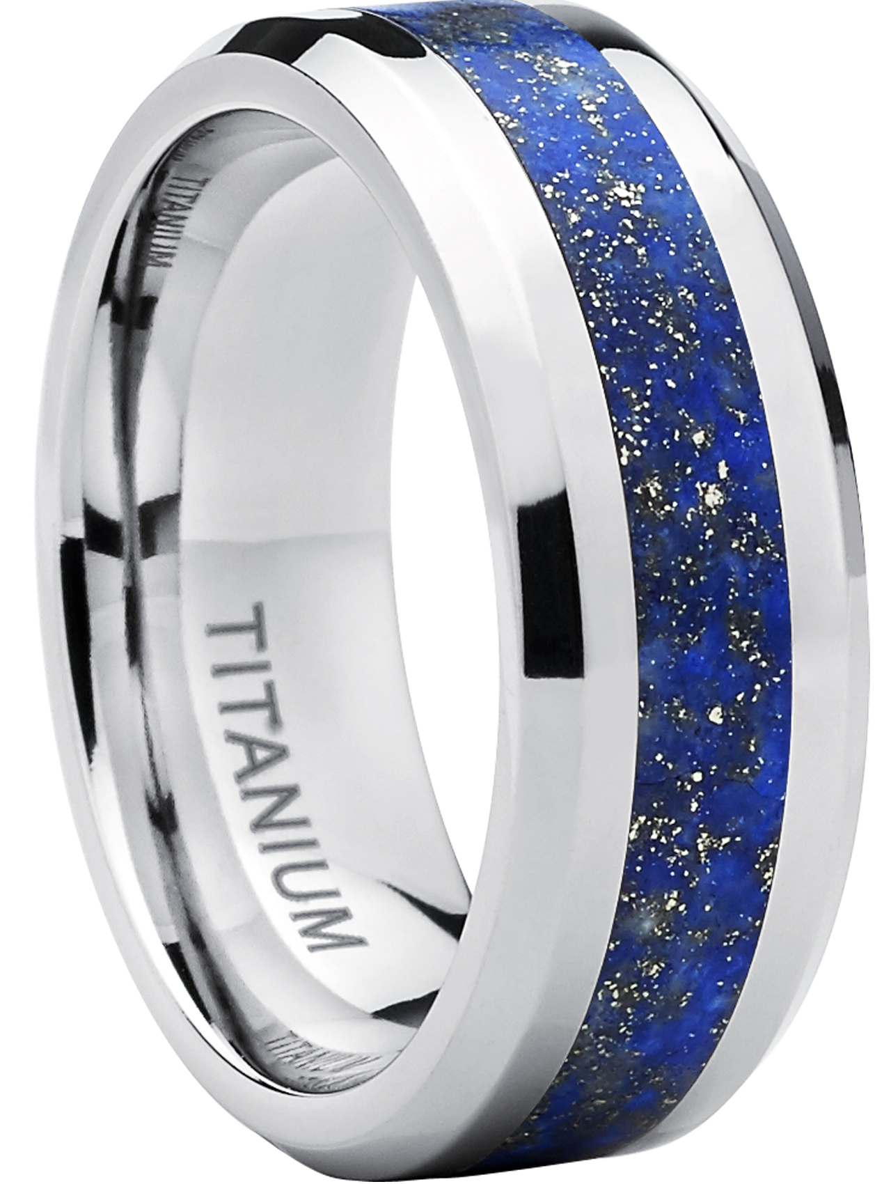 Titanium Ring Wedding Band with Genuine Royal Blue Specks Riverstone