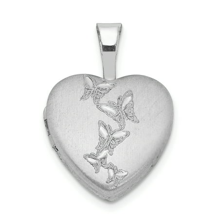 925 Sterling Silver Butterflies 12mm Heart Photo Pendant Charm Locket Chain Necklace That Holds Pictures Gifts For Women For Her