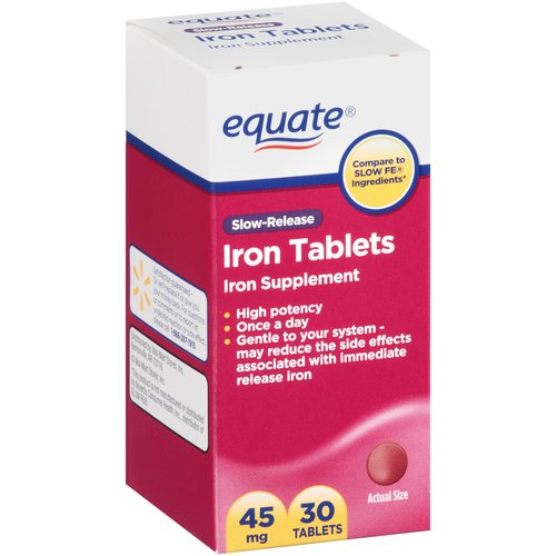 Equate Slow-Release Iron Tablets, 45mg, 30 count