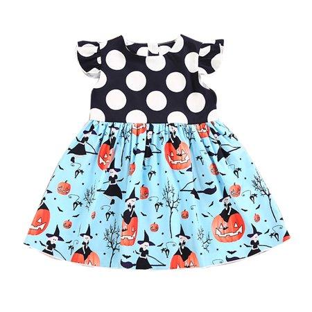 DZT1968 Toddler Kids Baby Girls Halloween Pumpkin Cartoon Princess Dress Outfits Clothes - Baby Pumpkin Halloween Outfits