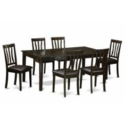 East West Furniture HEAN7-CAP-LC 7 Piece Dining Set-Table With Leaf and 6 Dinette Chairs