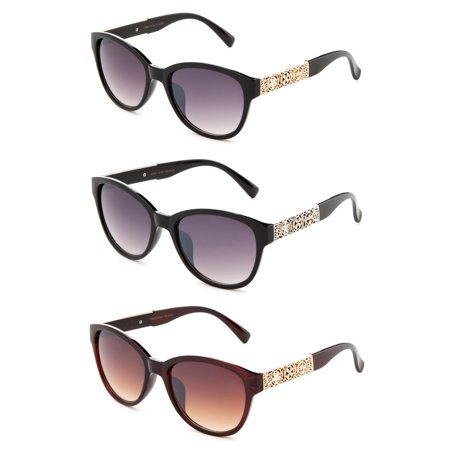 3 Pairs Unique Cateye Design with UV400 Gradient Lenses Fashion Sunglasses for Women