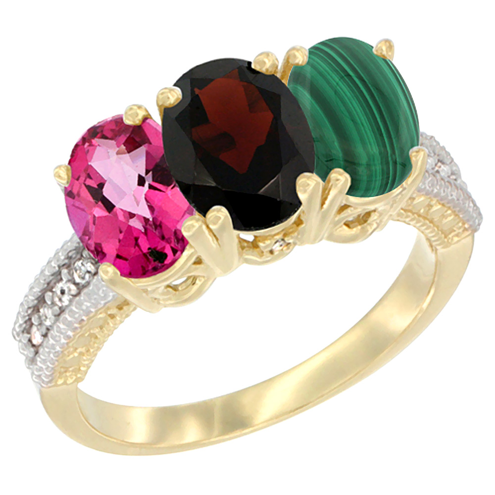 10K Yellow Gold Diamond Natural Pink Topaz, Garnet & Malachite Ring 3-Stone Oval 7x5 mm, sizes 5 10 by WorldJewels