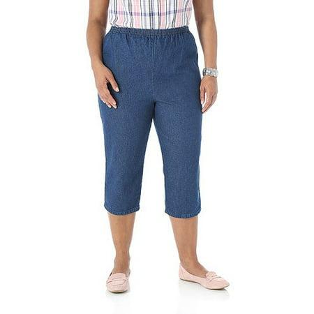 5dc4b37701c36 Chic - Women s Plus-Size Comfort Collection Elastic-Waist Capri Pants -  Walmart.com